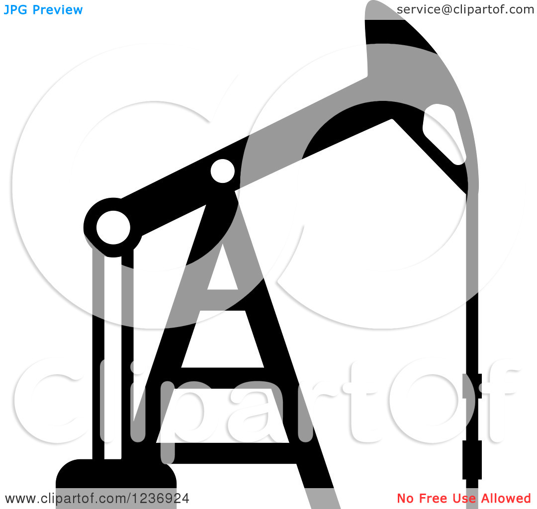 Clipart of a Black and White Oil Pump Icon.