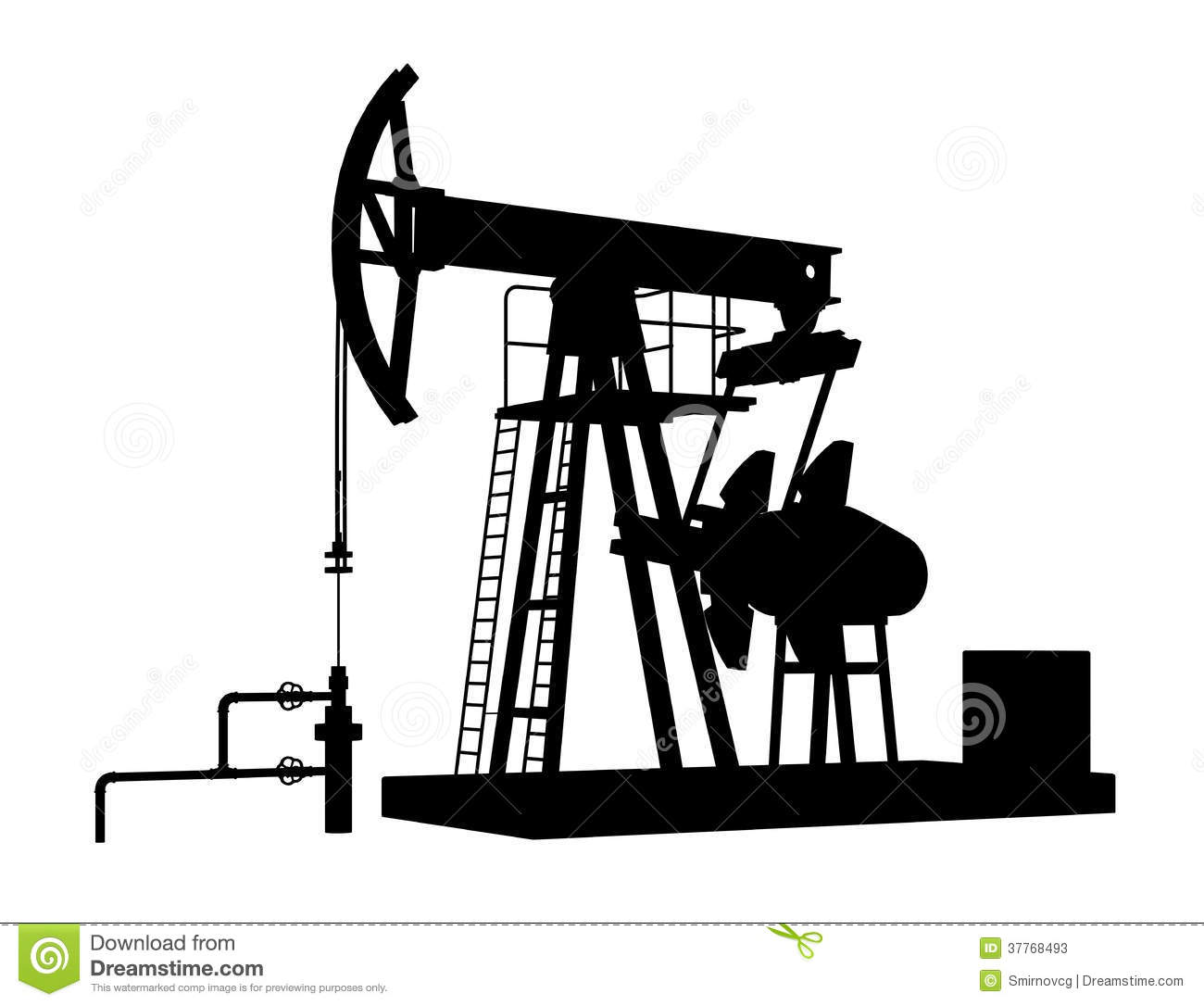 Oil Pump Jack For Petroleum Isolated On White Background Stock.