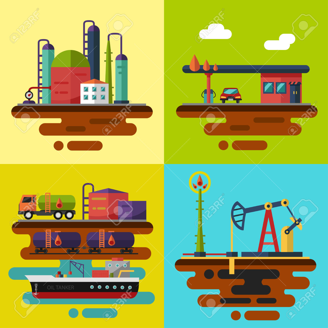 Vector Flat Illustrations. Oil Extraction, Oil Pumping Station.