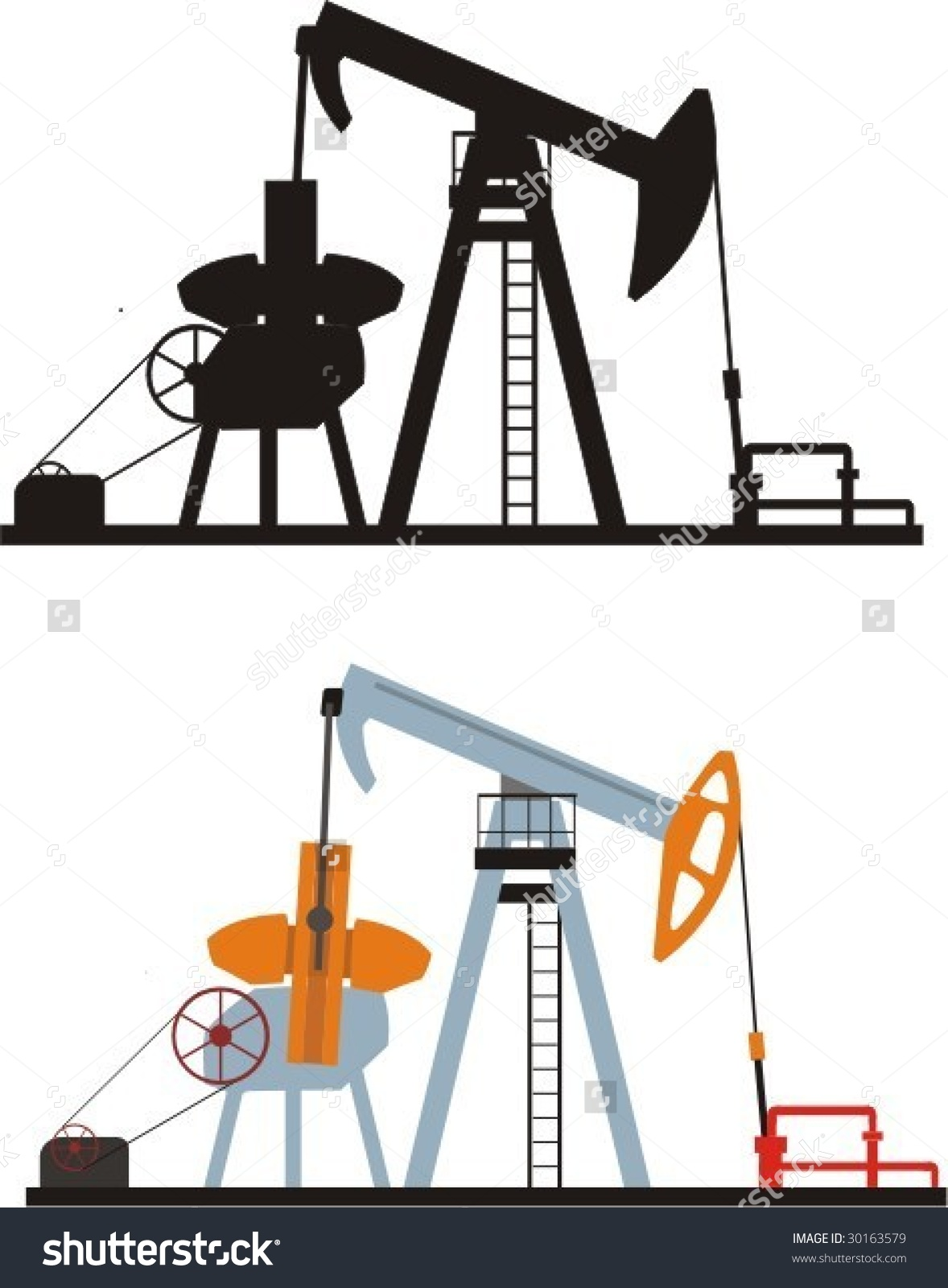 Pumping Station For Mining The Oils Stock Vector Illustration.