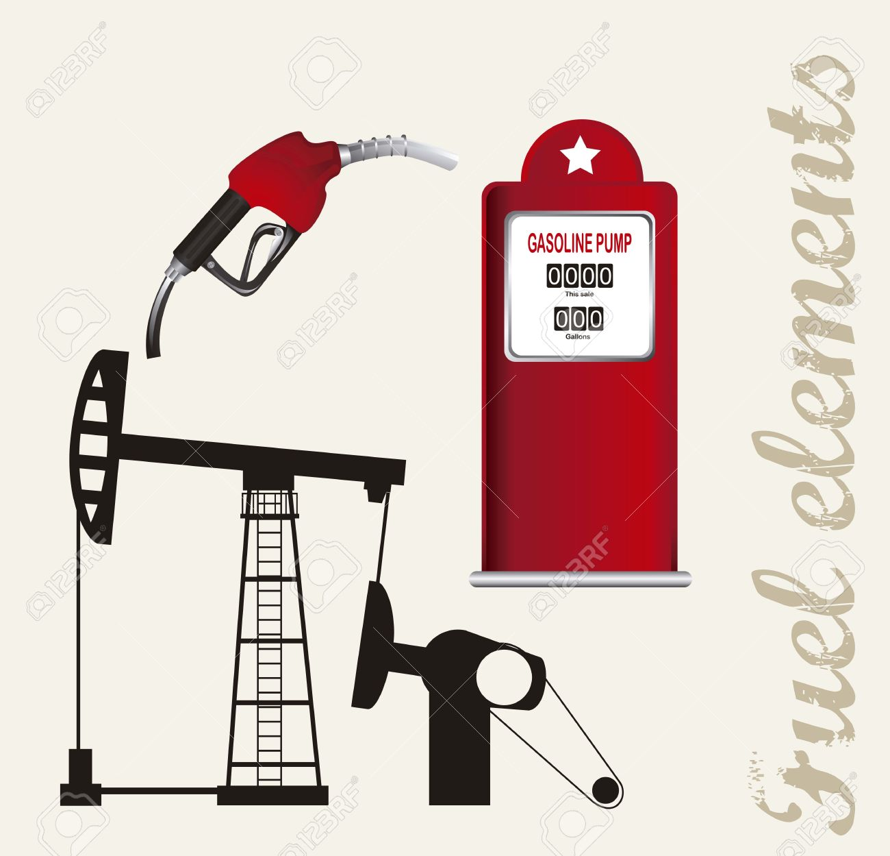 Silhouette Oil Pump With Fuel Station. Vector Illustration Royalty.
