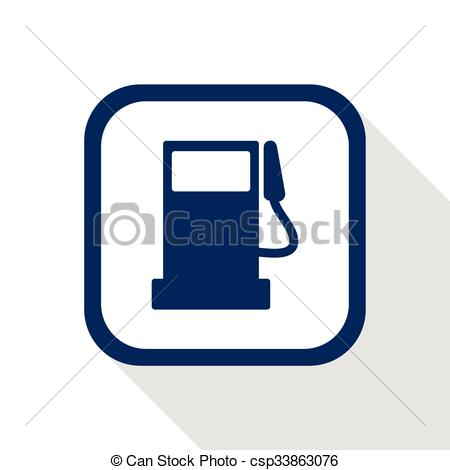 Vectors Illustration of square dark blue icon fuel pump station.