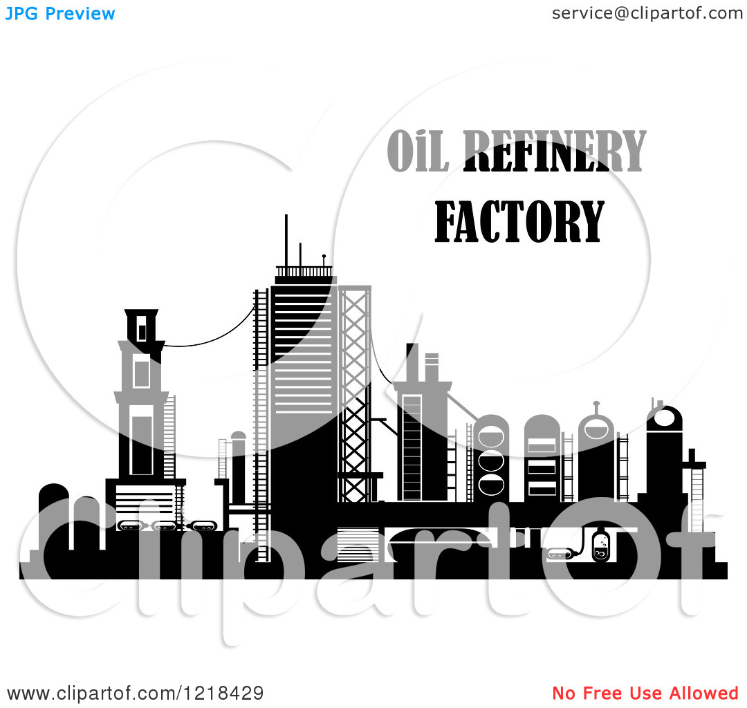 Clipart of a Black and White Oil Refinery Factory with Text.