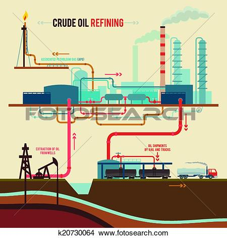 Clipart of Illustration of a crude oil refining k20730064.