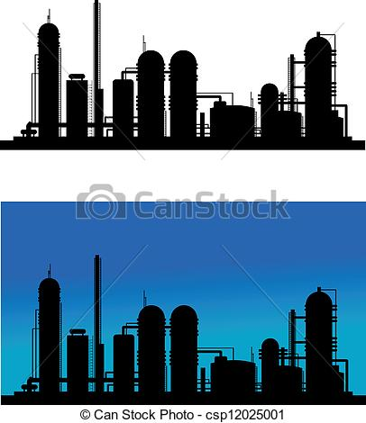 Vector Clipart of Chemical or refinery plant silhouette for.