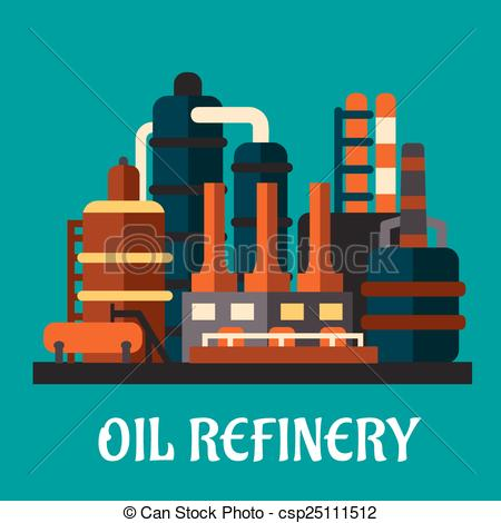 Vector Clip Art of Oil refinery factory in flat style depicting an.