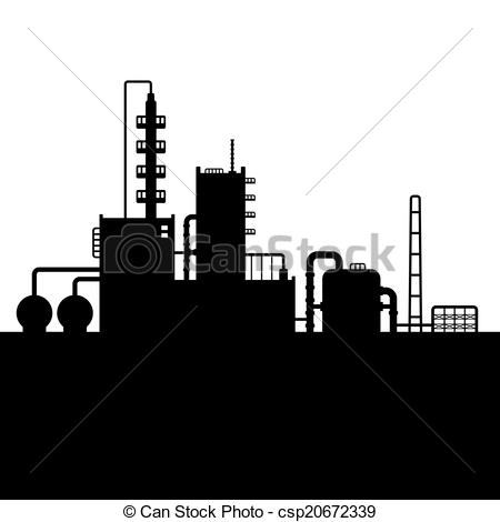 Clipart Vector of Oil Refinery Plant and Chemical Factory.