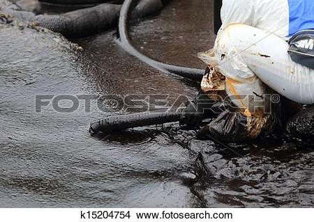 Stock Photo of clean up Crude oil stain k15204754.