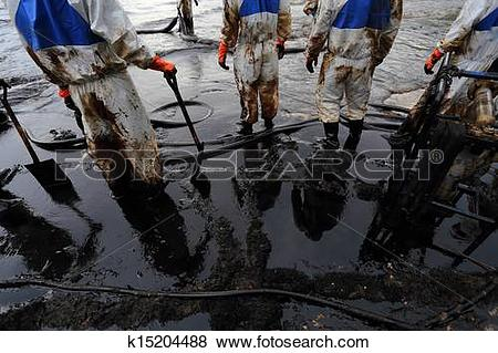 Pictures of clean up Crude oil stain k15204488.