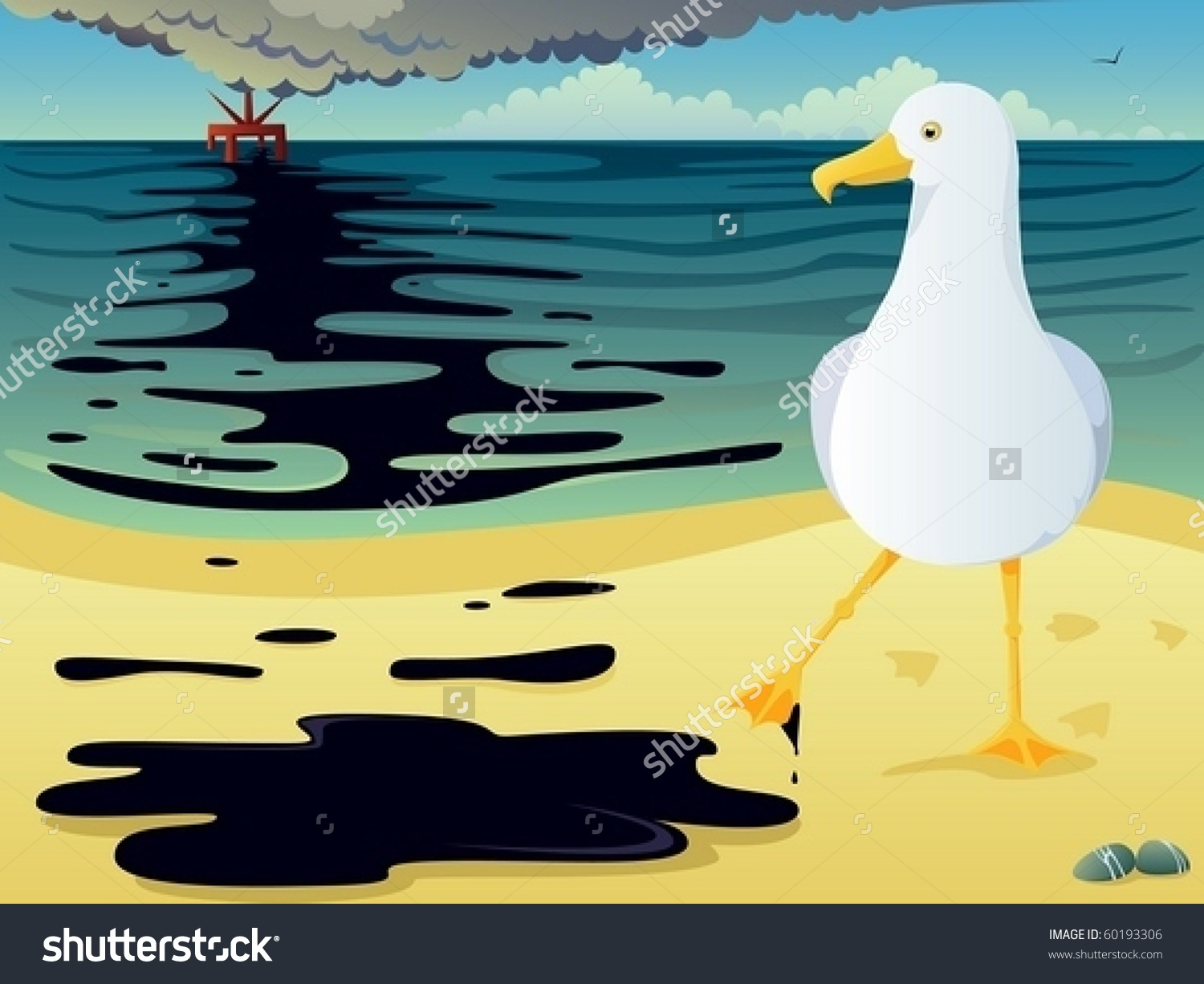 Illustration Seagull Discovering Oil Stain On Stock Vector.