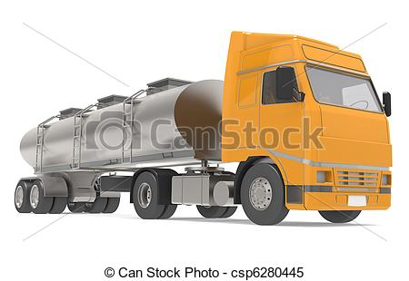 Oil tanker truck isolated on white Clipart and Stock Illustrations.