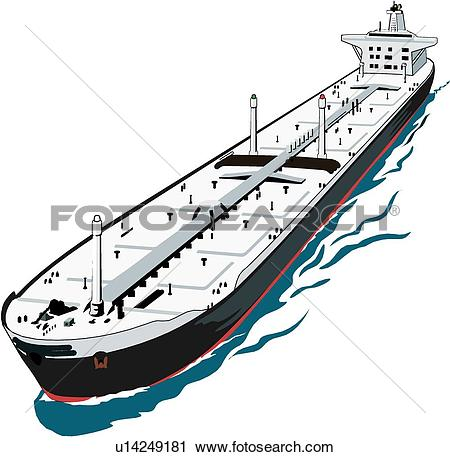 Clipart of Super Tanker u14249181.