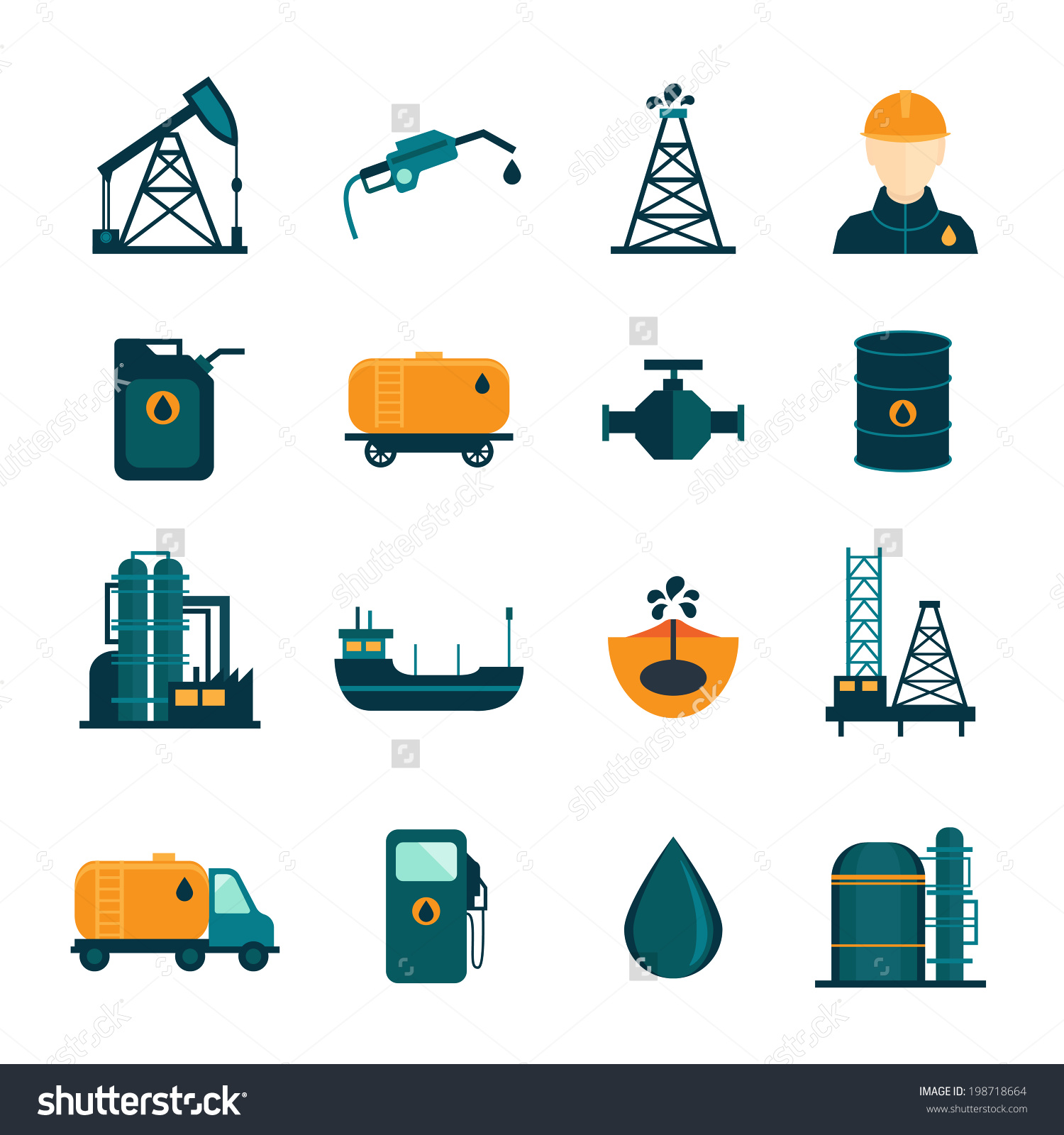 Oil Industry Drilling Refining Process Petroleum Stock Vector.