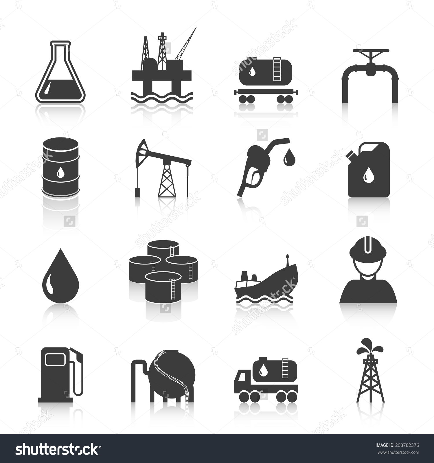 Oil Industry Gasoline Processing Symbols Icons Stock Vector.