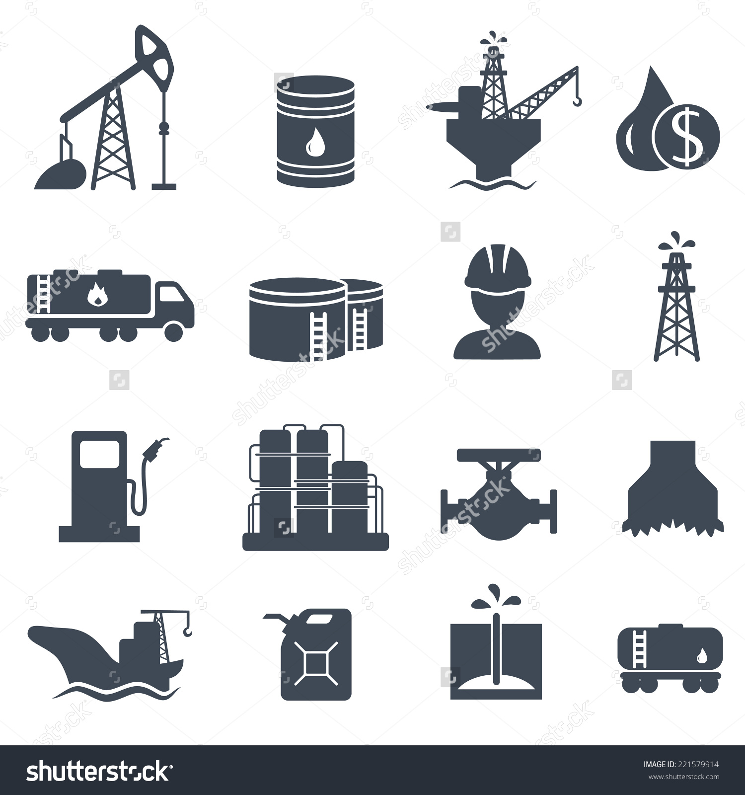 Set Oil Gas Grey Icons On Stock Vector 221579914.