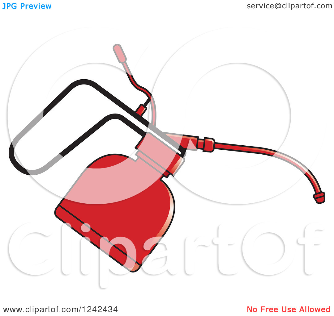 Clipart of a Red Oil Can.