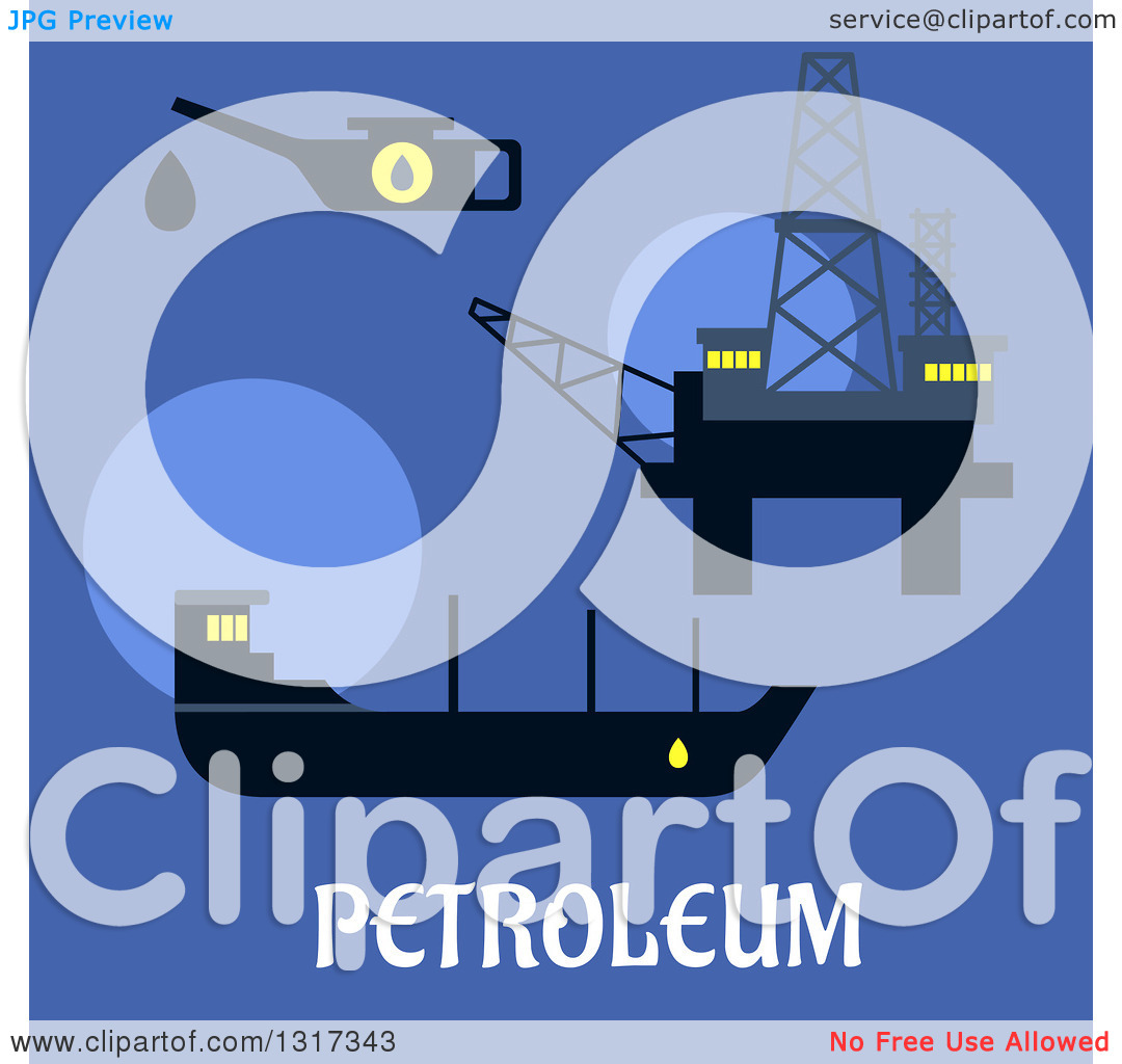 Clipart of a Flat Design Oil Rig, Oil Tanker and Oiler with Text.