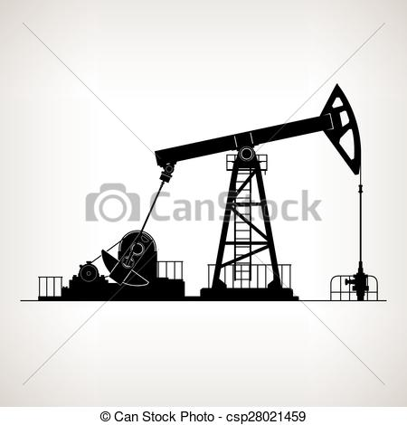 Clipart Vector of Oil pump and an oil pipeline.