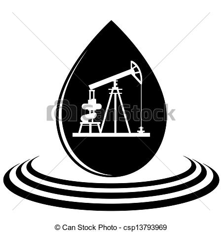 Clip Art Vector of A drop of oil and the oil pump.