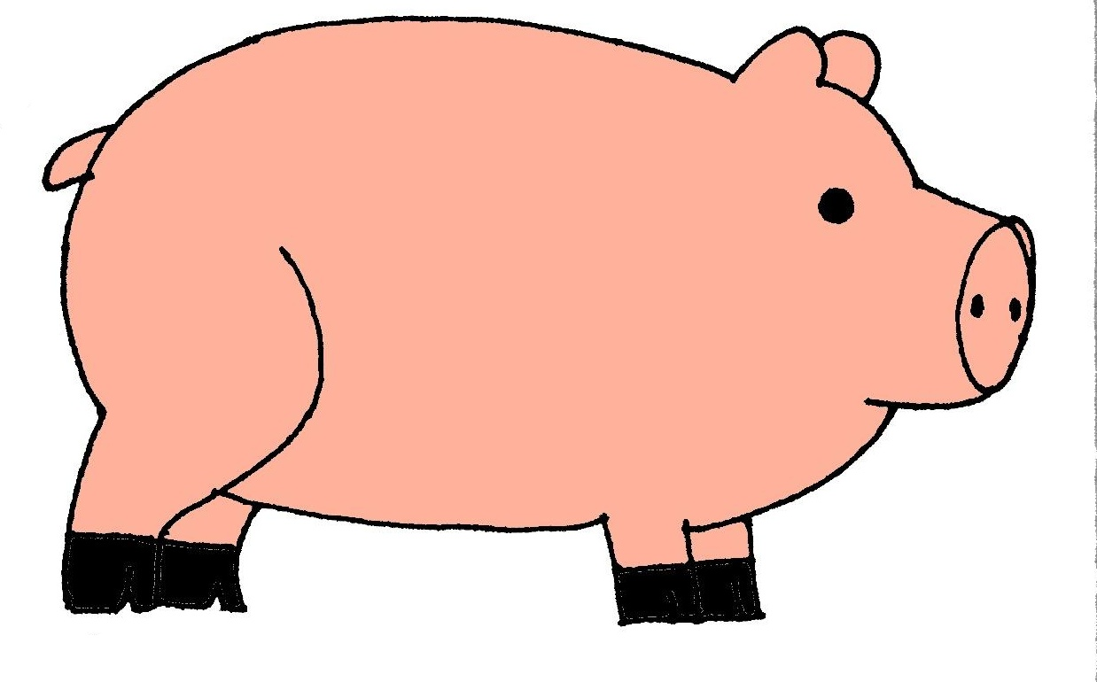 Pig side view clipart.