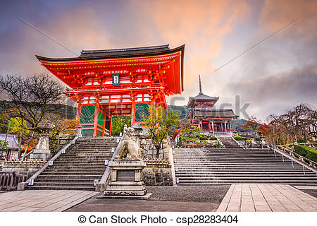 Stock Photography of Kiyomizu Temple in Kyoto.