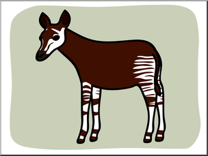 Clip Art: Basic Words: Okapi Color Unlabeled I abcteach.com.