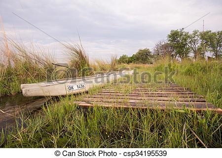 Stock Photos of Makoro Dock in Okavango Delta.