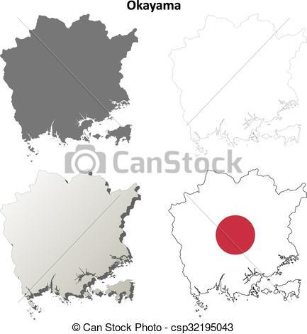 EPS Vector of Okayama blank outline map set.