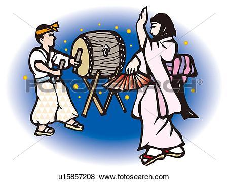 Stock Illustration of Shiraishi Dance, Woodcut, Okayama Prefecture.