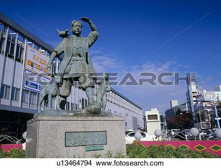 Stock Photo of Statue of Momotaro, Okayama, Okayama u13464794.