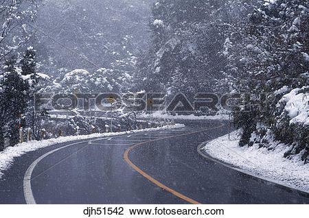 Stock Photo of Japan, Okayama, Snow Covered Road djh51542.