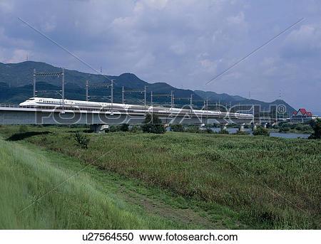 Stock Photography of Sanyo Shinkansen, Setouchi, Okayama, Japan.