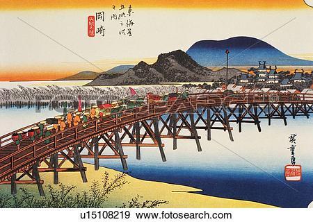 Stock Illustration of Scenery of Okazaki in Edo Period, Painting.