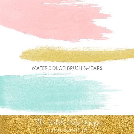 Watercolor Paint Brush Strokes Clipart in pink aqua & oker.