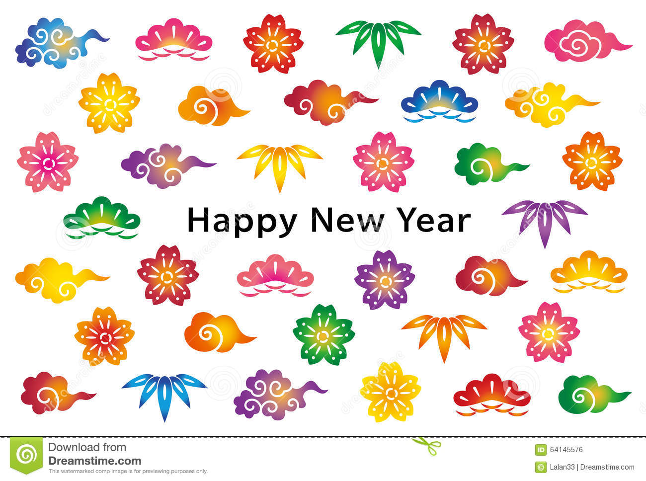 New Year Card With Japanese Traditional Design. Stock Vector.