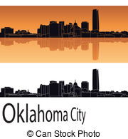 Vector Clipart of Oklahoma city silhouette black background.