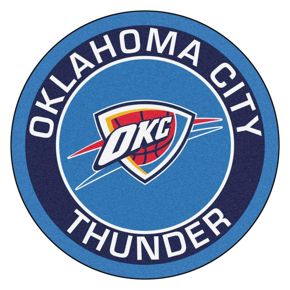 FANMATS NBA Oklahoma City Thunder Blue 2 ft. x 2 ft. Round Area Rug.