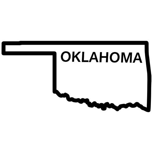 Oklahoma State Outline Decal Sticker. Available in 19 colors.