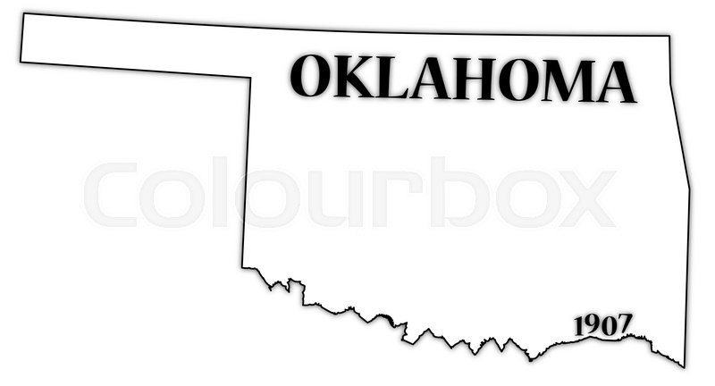 An Oklahoma state outline with the date of statehood isolated on a.
