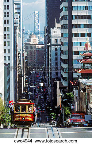 Stock Photo of Cable car riding up California Street in downtown.