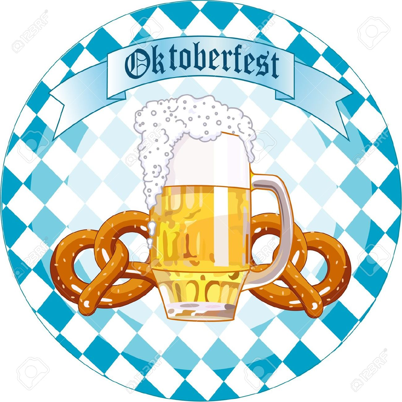 Round Oktoberfest Celebration Design With Beer And Pretzel Royalty.