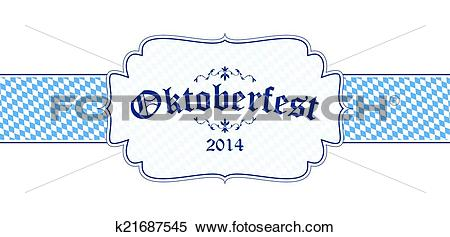 Clipart of Oktoberfest banner with text Oktoberfest 2014 k21687545.