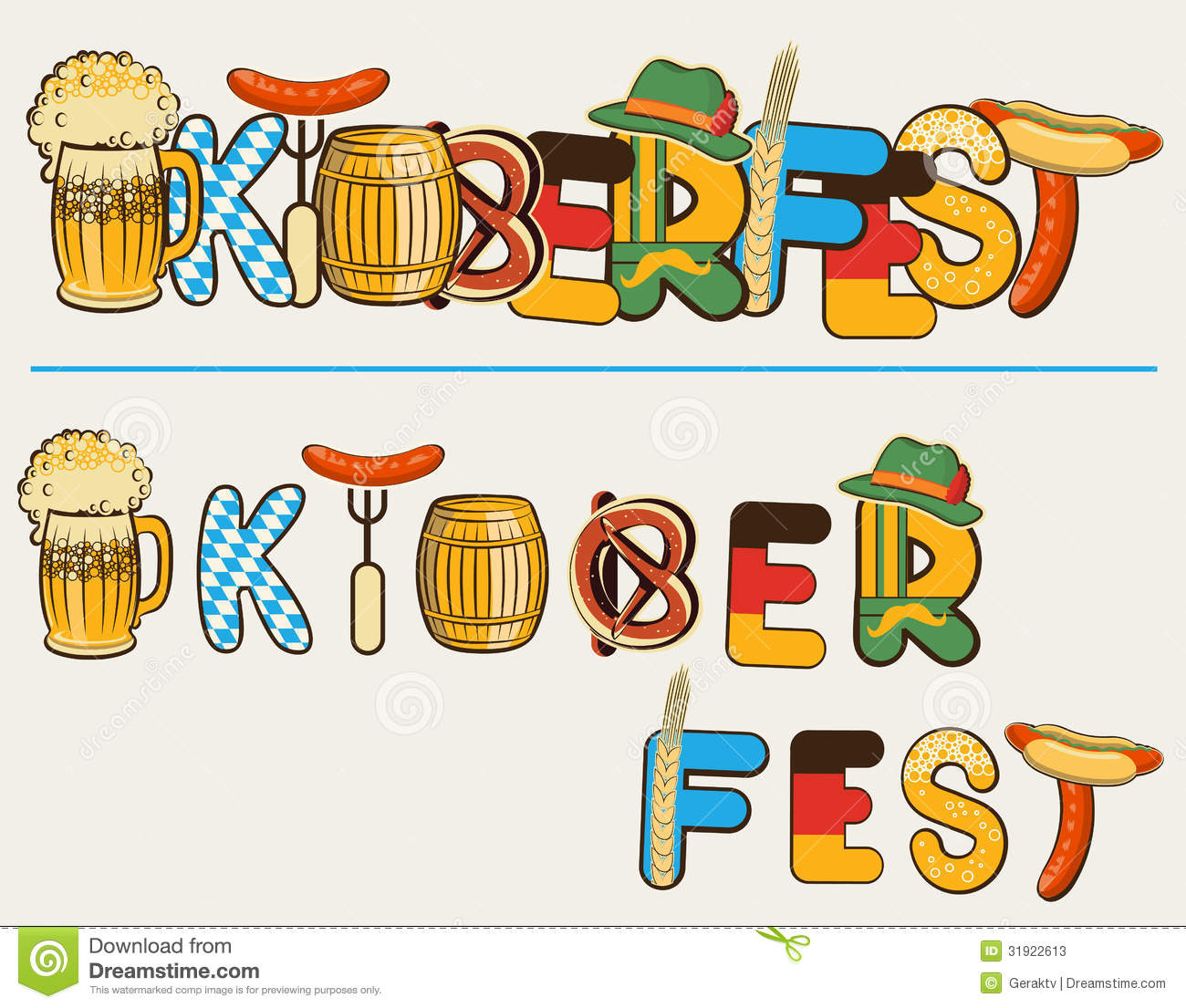 Beer Oktoberfest Lettersl.Vector Text Illustration Editorial Stock.
