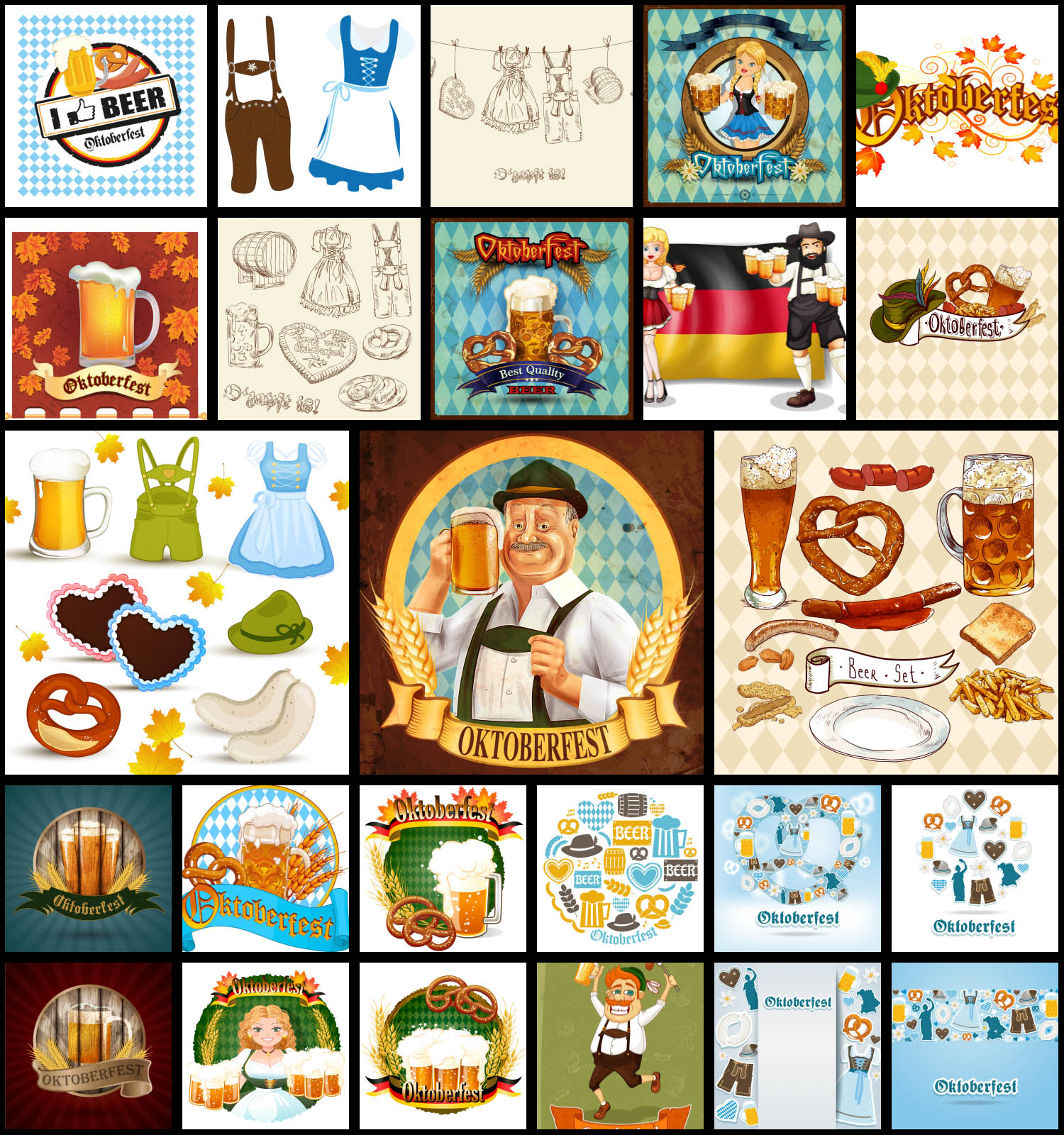 25 Oktoberfest vector clip art set.
