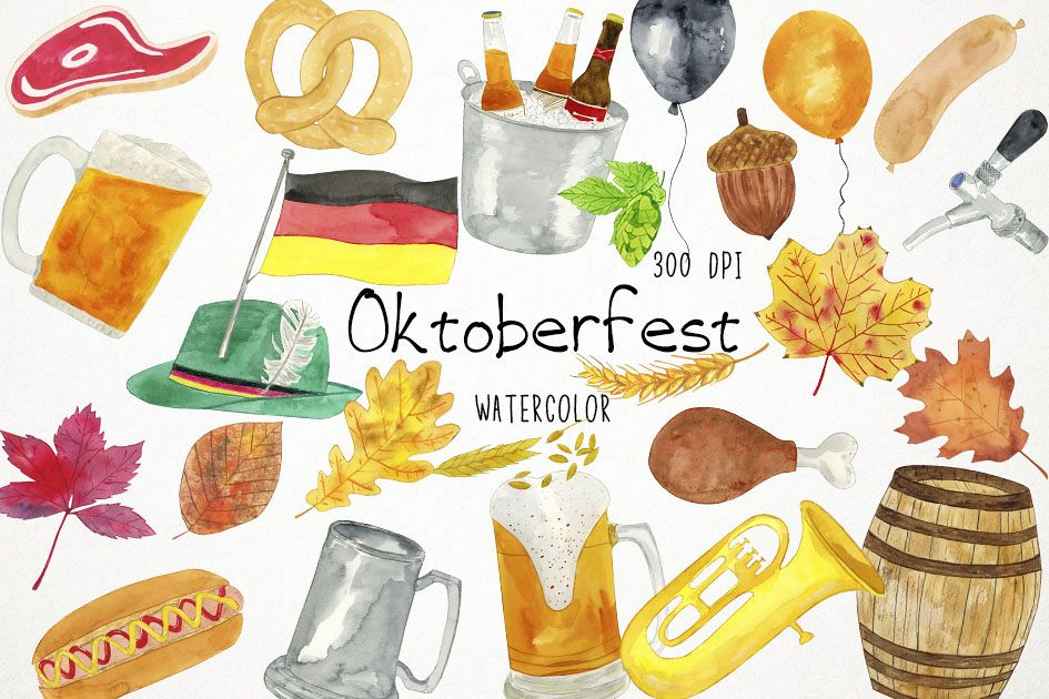 Watercolor Oktoberfest Clipart, Oktoberfest Clip Art, Beer.