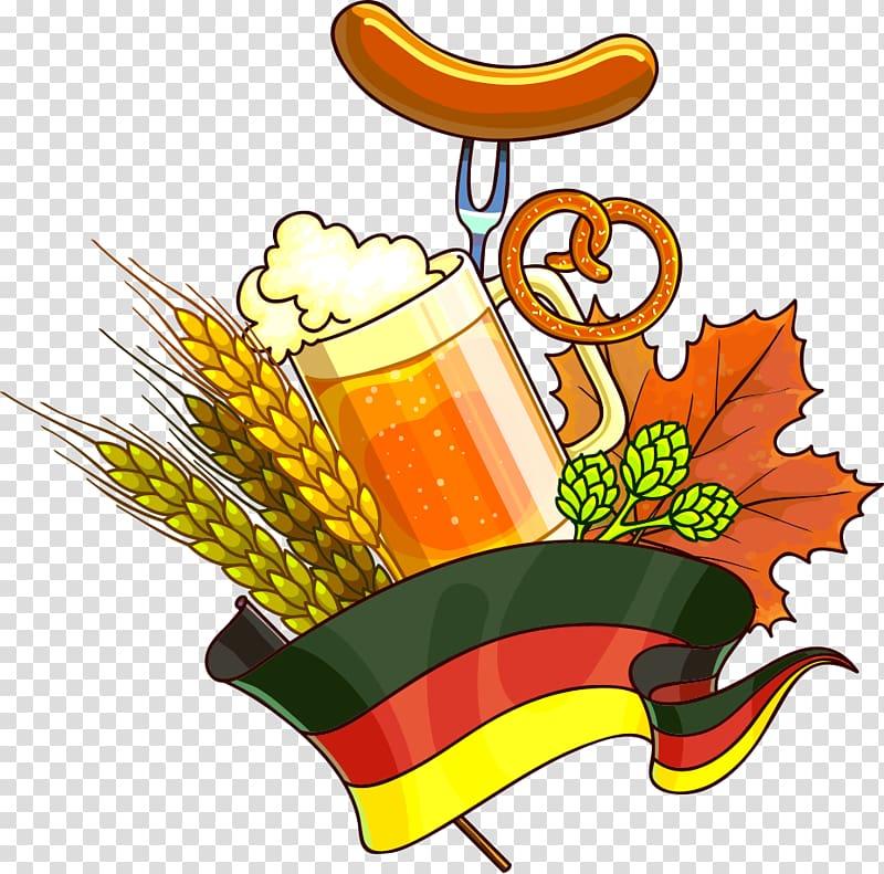 Oktoberfest Beer Illustration, Cartoon beer transparent.