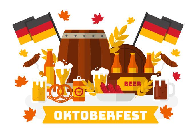 Oktoberfest With Bavarian Food Vector..