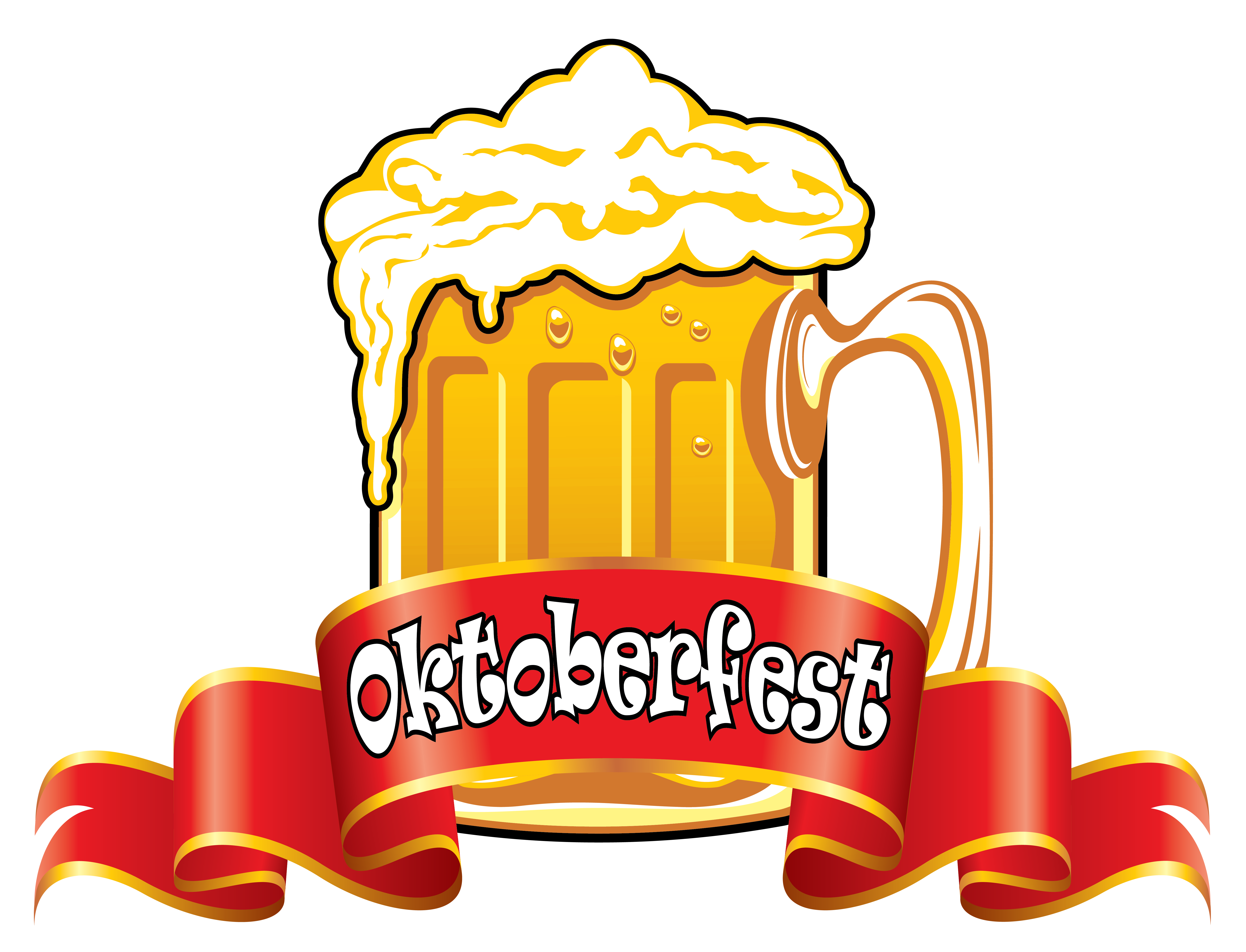 Oktoberfest Red Banner with Beer PNG Clipart Image.