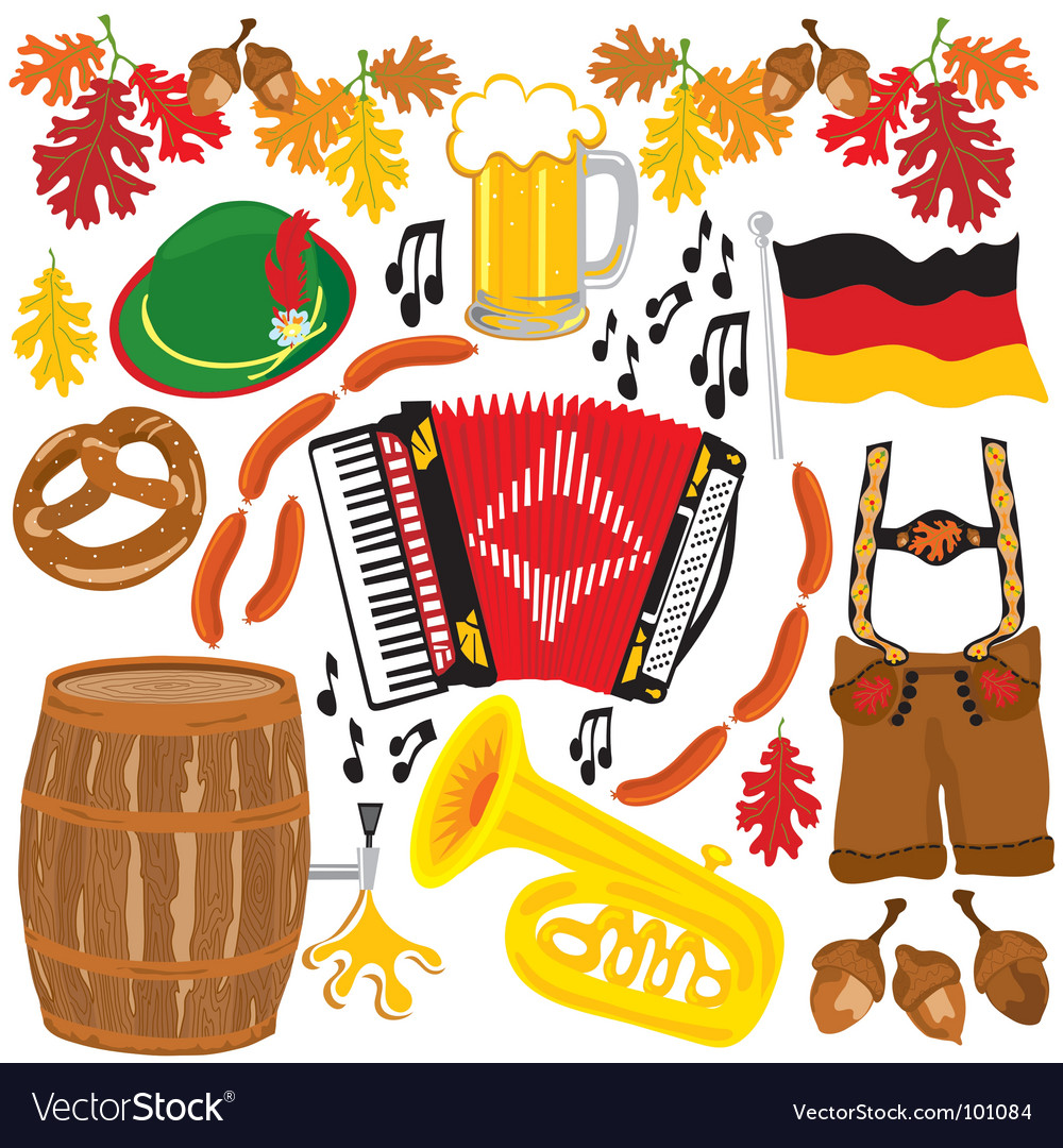 Oktoberfest party clipart elements.