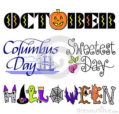 October Clip Art Stock Illustration.
